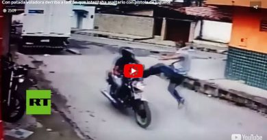 Con patada voladora derriba a ladrón que intentaba asaltarlo con pistola de juguete